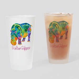I Love Hippos of Many Colors Drinking Glass