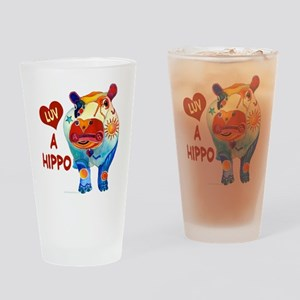 Love A Hippo Drinking Glass