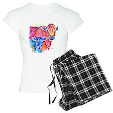Cow and Calf Vivid Colors Women's Light Pajamas
