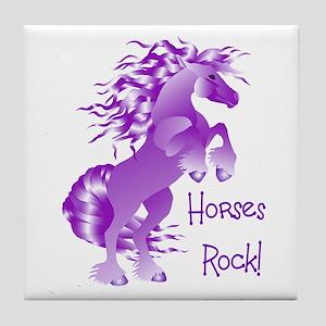 Horses Rock- Purple Tile Coaster