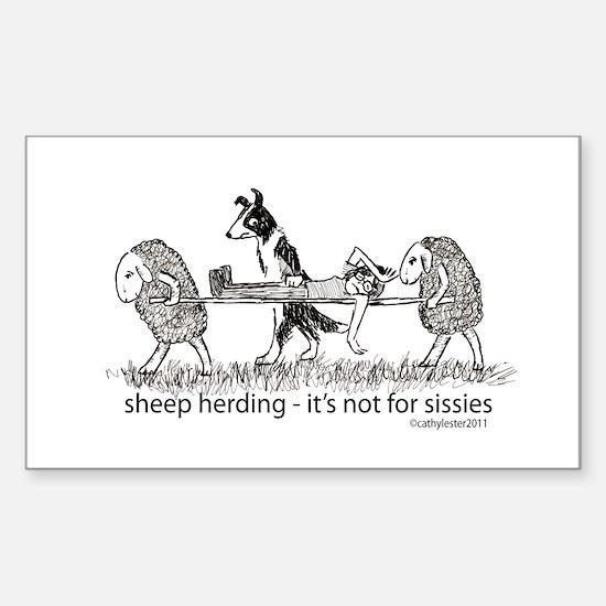 Sheep Herding Sticker (Rectangle)