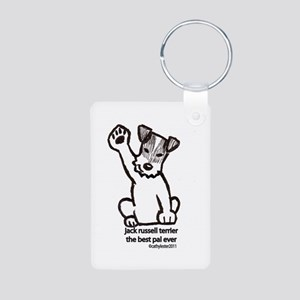 Jack Russell Greeting Aluminum Photo Keychain