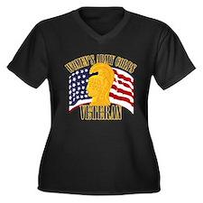 WAC Veteran Women's Plus Size V-Neck Dark T-Shirt