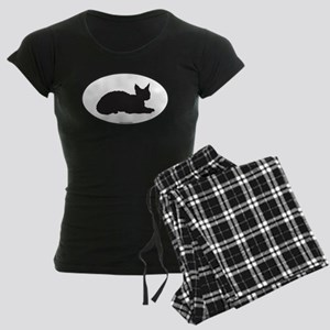 Devon Rex Silhouette Women's Dark Pajamas