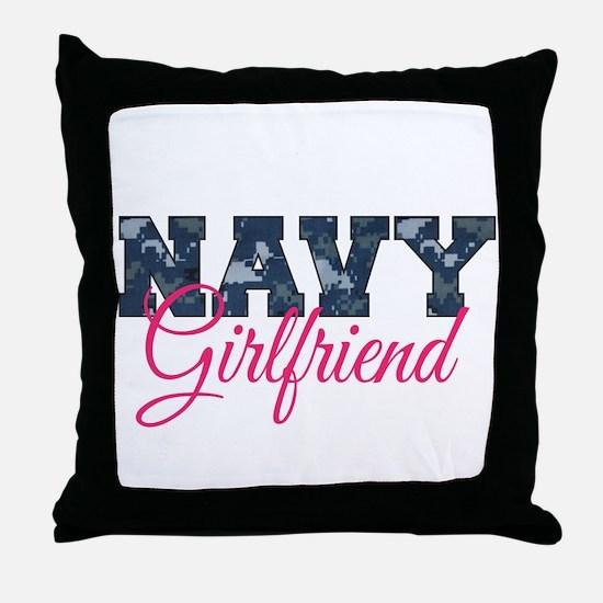 Funny Us navy girlfriend Throw Pillow