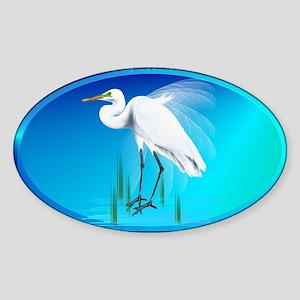 Great Egret Sticker (Oval)