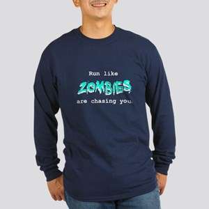Blue Logo Long Sleeve Dark T-Shirt