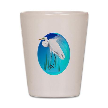Great Egret Shot Glass