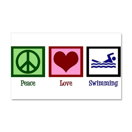 Peace Love Swimming Car Magnet 20 x 12