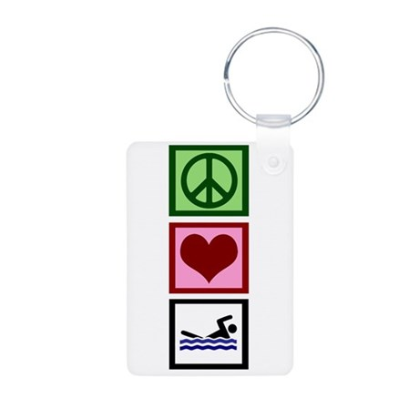 Peace Love Swimming Aluminum Photo Keychain