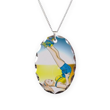 Roller Derby Girl Pin-up Necklace Oval Charm