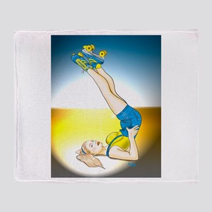 Roller Derby Girl Pin-up Throw Blanket