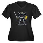 Black Knight Women's Plus Size V-Neck Dark T-Shirt