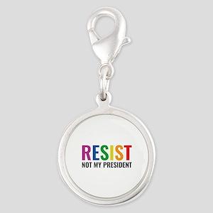 Glbt Resist Silver Round Charm