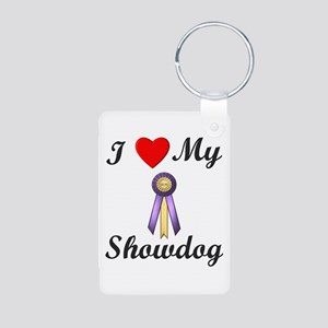 I Love My Showdog (ribbon) Aluminum Photo Keychain