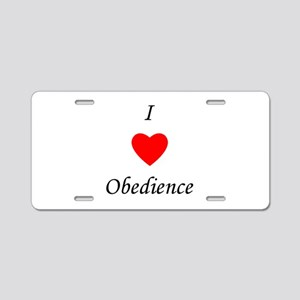 I Love Obedience Aluminum License Plate