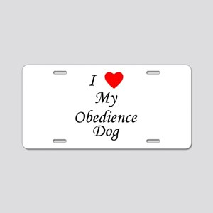 I Love My Obedience Dog Aluminum License Plate