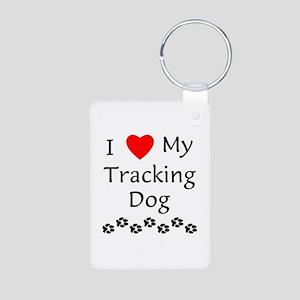 I Love My Tracking Dog Aluminum Photo Keychain
