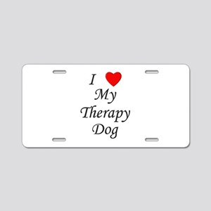 I Love My Therapy Dog Aluminum License Plate