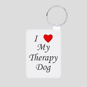 I Love My Therapy Dog Aluminum Photo Keychain