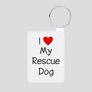 I Love My Rescue Dog Aluminum Photo Keychain