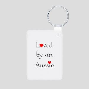 Loved by an Aussie Aluminum Photo Keychain