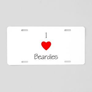 I Love Beardies Aluminum License Plate