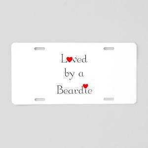 Loved by a Beardie Aluminum License Plate
