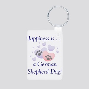 Happiness is...a German Sheph Aluminum Photo Keych