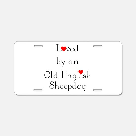 Loved by an Old English Sheep Aluminum License Pla