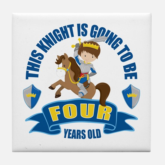 4th Birthday Knight Tile Coaster
