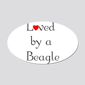 Loved by a Beagle 22x14 Oval Wall Peel