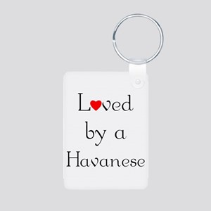 Loved by a Havanese Aluminum Photo Keychain