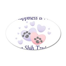 Happiness is...a Shih Tzu 22x14 Oval Wall Peel