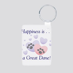 Happiness is...a Great Dane Aluminum Photo Keychai