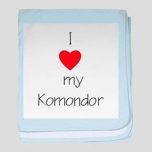 I Love My Komondor baby blanket