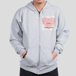 I Love Samoyeds Zip Hoodie