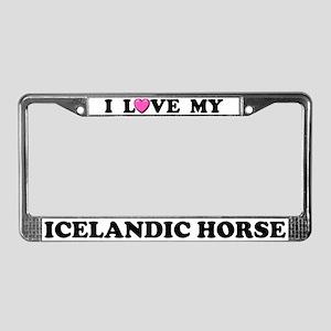 I Love My Icelandic Horse License Plate Frame