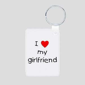I love my girlfriend Aluminum Photo Keychain