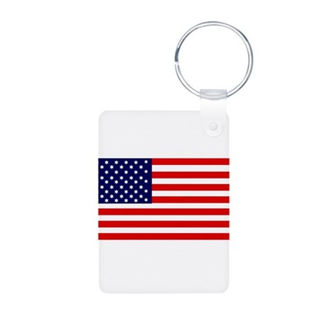American Flag Aluminum Photo Keychain