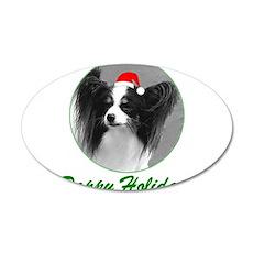 Pappy Holidays (b/w santa hat 22x14 Oval Wall Peel