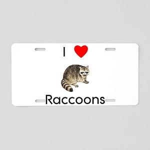 I Love Raccoons Aluminum License Plate