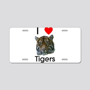 I Love Tigers Aluminum License Plate