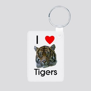 I Love Tigers Aluminum Photo Keychain