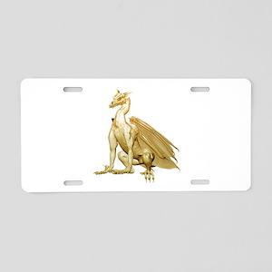 Gold Sitting Dragon Aluminum License Plate