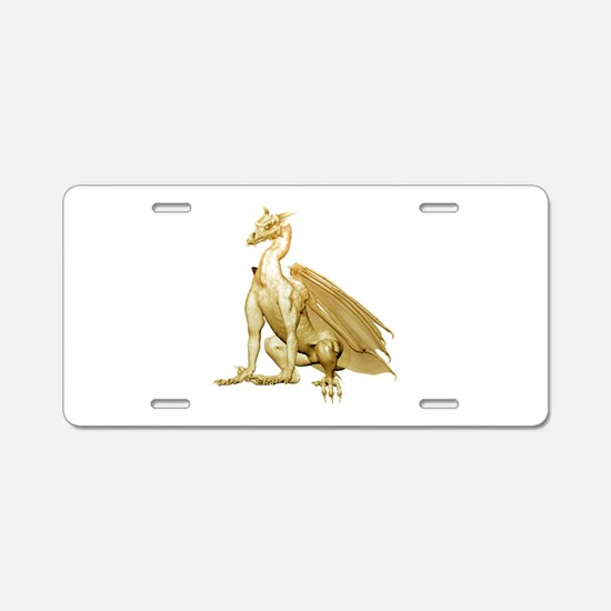 Gold Sitting Dragon Aluminum License Plate