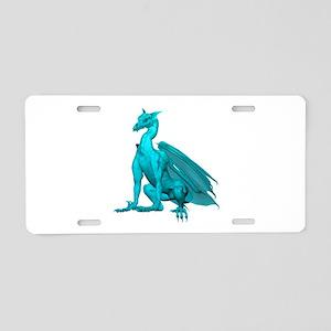 Teal Sitting Dragon Aluminum License Plate