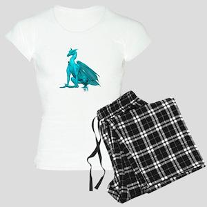 Teal Sitting Dragon Women's Light Pajamas