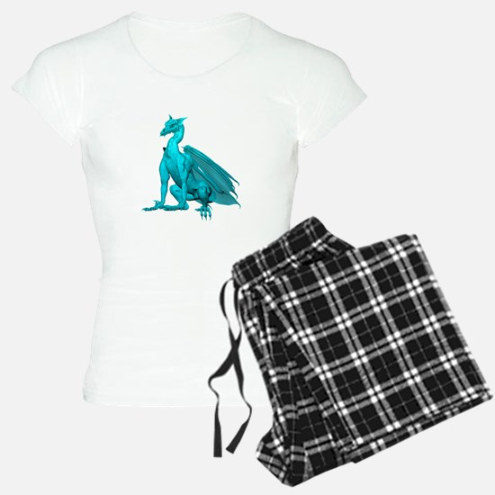 Teal Sitting Dragon Pajamas