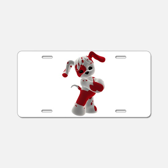 Red and White Puppy Aluminum License Plate